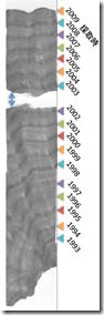 サンゴ骨格のエックス線写真